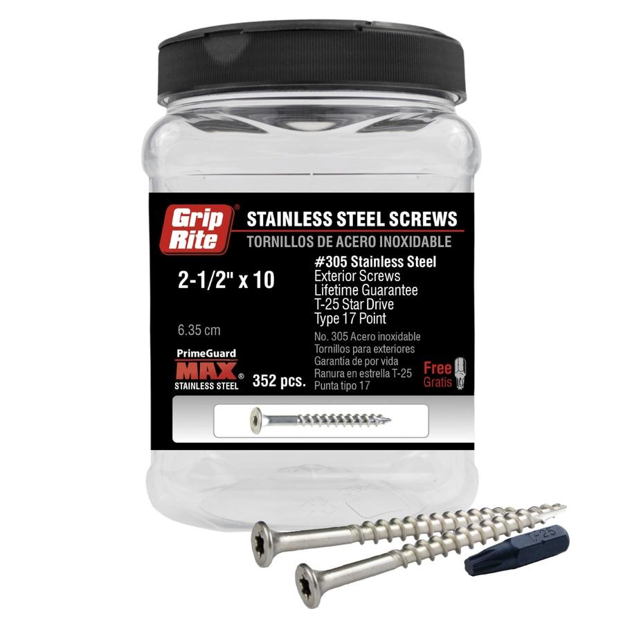 Grip-Rite 352-Count #10 x 2.5-in Flat-Head Stainless Steel Star-Drive Deck Screws
