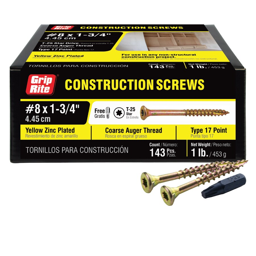 Grip-Rite 1-lb #8 x 1.75-in Bugle-Head Yellow Zinc Type 17 Star-Drive Interior Wood Screw