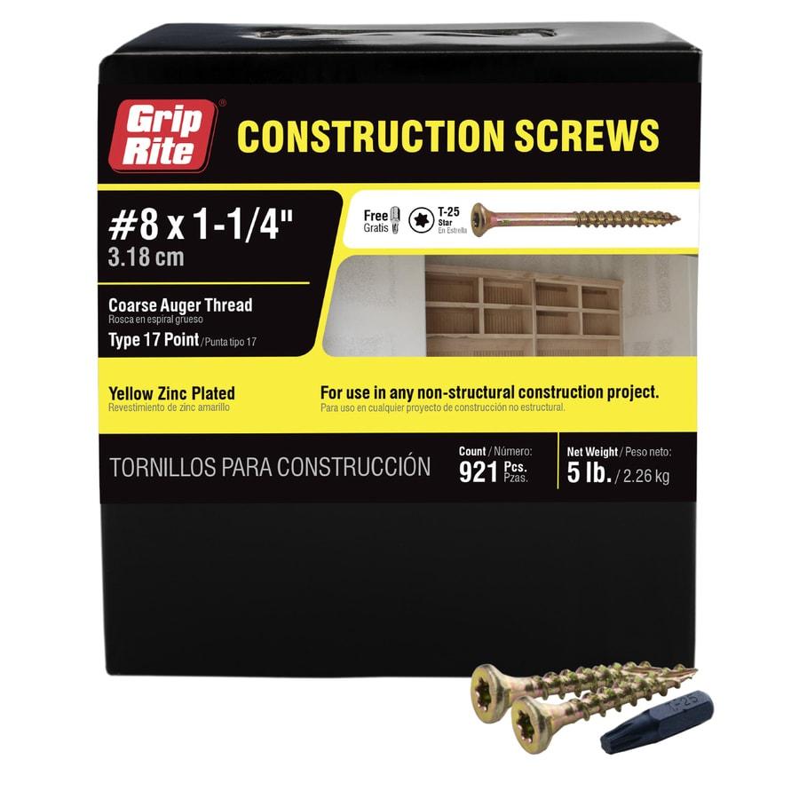 Grip-Rite 5-lb #8 x 1.25-in Bugle-Head Yellow Zinc Type 17 Star-Drive Interior Wood Screw