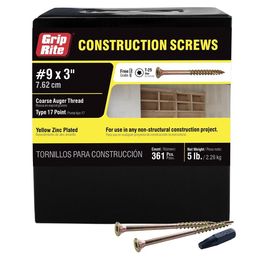 Grip-Rite 5-lb #9 x 3-in Bugle-Head Yellow Zinc Type 17 Star-Drive Interior Wood Screw