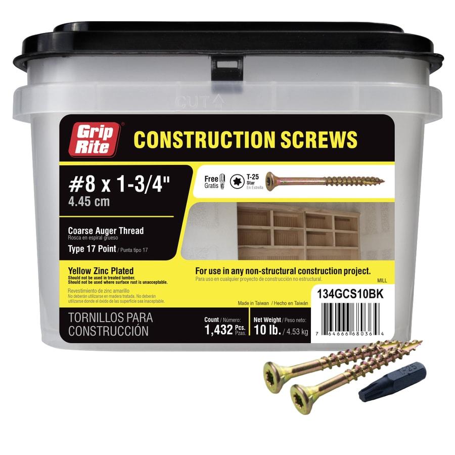 Grip-Rite 10-lb #8 x 1.75-in Bugle-Head Yellow Zinc Type 17 Star-Drive Interior Wood Screw