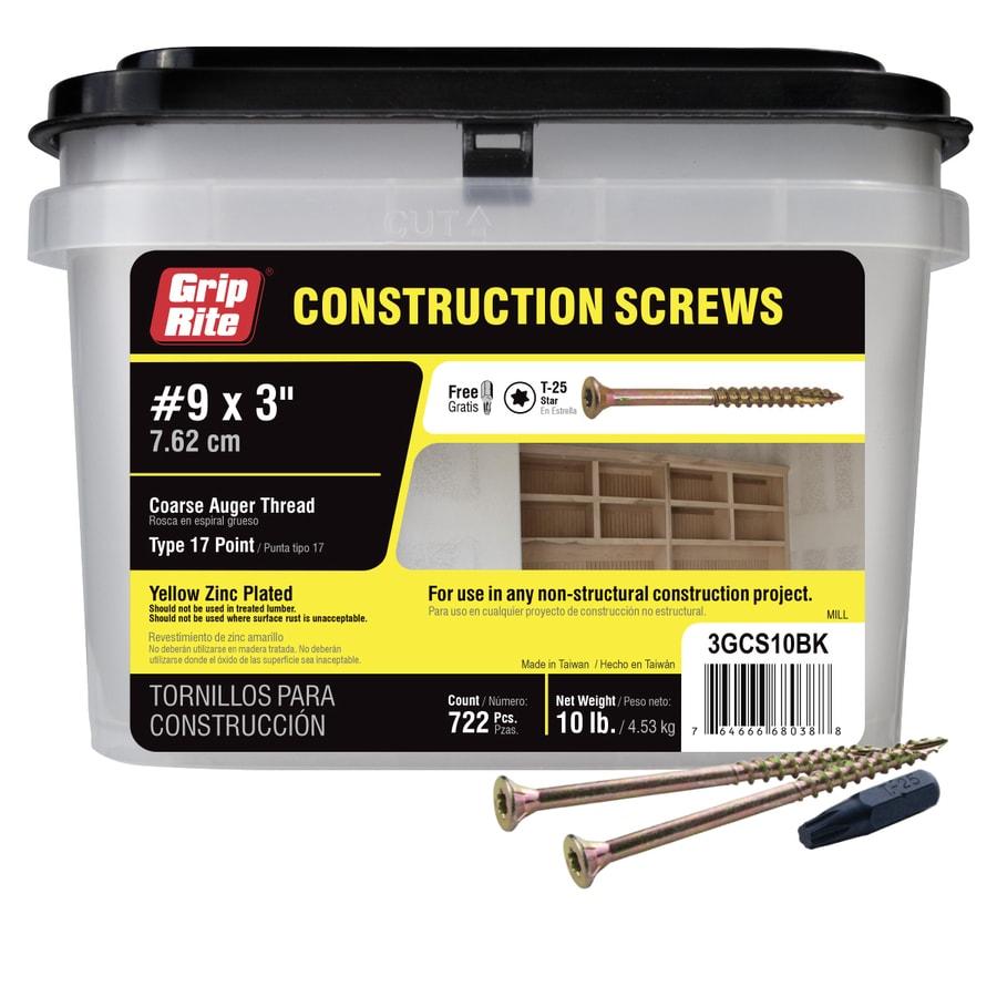 Grip-Rite 10-lb #9 x 3-in Bugle-Head Yellow Zinc Type 17 Star-Drive Interior Wood Screw
