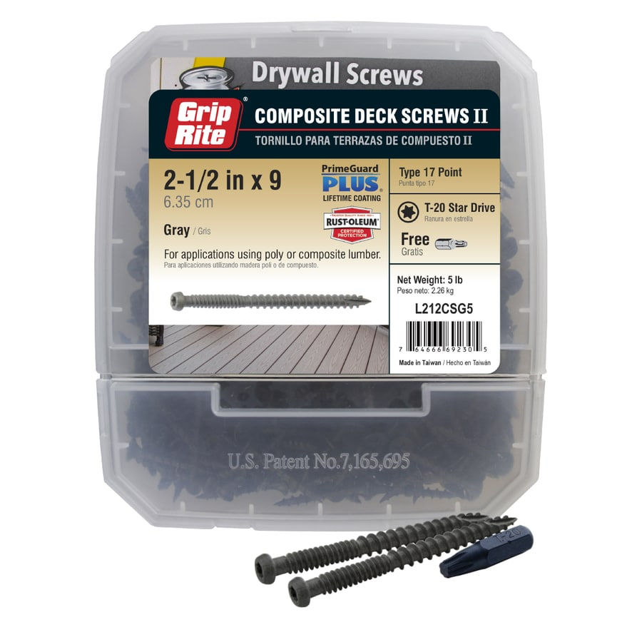Grip Rite PrimeGuard Plus 5-lb #9 x 2.5-in Pan-Head Polymer-Coated Star-Drive Deck Screws