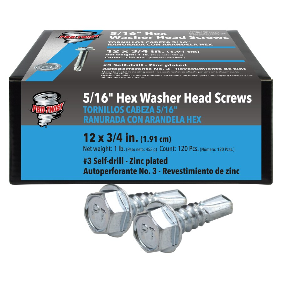 Pro Twist 12 X 3 4 In Silver Zinc Plated Self Drilling