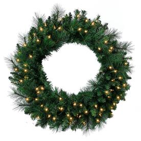 Holiday Living 30 In Pre Lit Pine Mixed Artificial Christmas Wreath With White