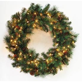 Holiday Living 30 In Pre Lit Pine Artificial Christmas Wreath With White Clear Incandescent
