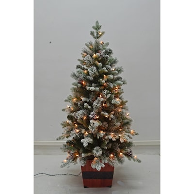 Holiday Living 4-ft Pre-Lit Slim Flocked Artificial ...