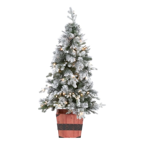 White 4 Foot Christmas Tree: Holiday Living 4-ft Pre-lit Slim Flocked Artificial