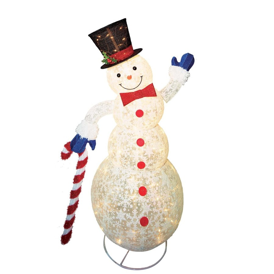 Holiday Living Holiday Living Pre-Lit Snowman Sculpture with Constant Clear White Incandescent Lights
