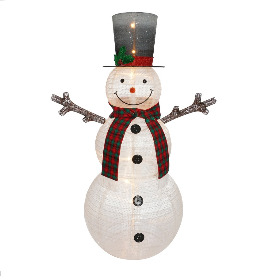 Holiday Living 1.9-ft Freestanding Snowman Sculpture with Twinkling White LED Lights