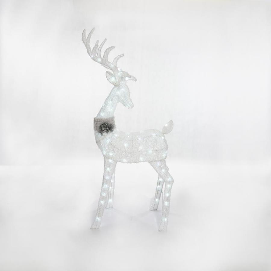 Holiday Living 5.33-ft Freestanding Buck Sculpture with Constant White LED Lights