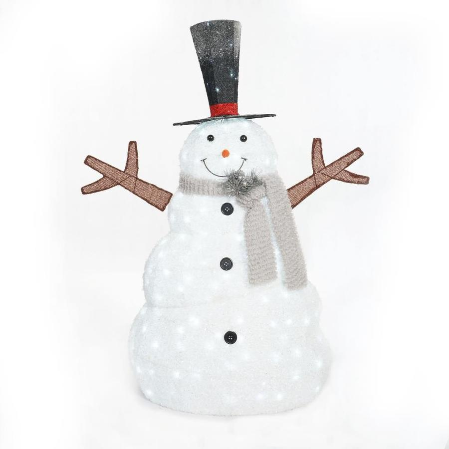 Holiday Living 3.33-ft Freestanding Snowman Sculpture with Constant White LED Lights