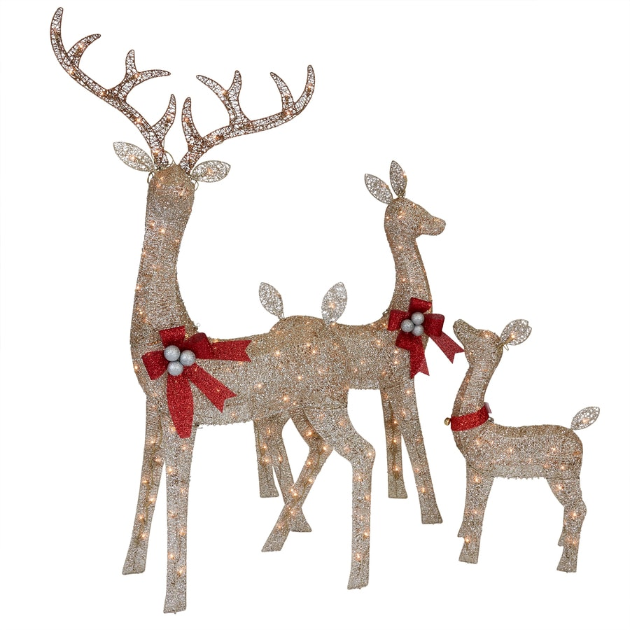 Holiday Living Bf Hl Champagne Deer Family 3 Pc In The Outdoor Christmas Decorations Department At Lowes Com