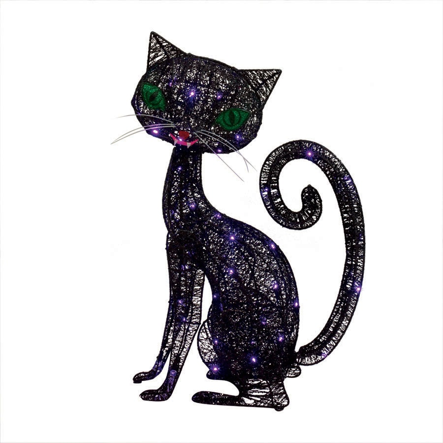 2.16-ft Glittering Thread Cat with Purple LED Lights