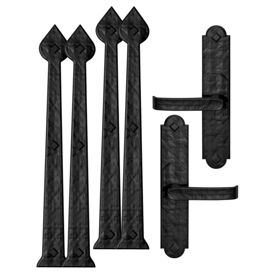 Shop garage door hardware at lowes cre8tive hardware 6 pack 18 in decorative black magnetic garage door hinge and handle rubansaba