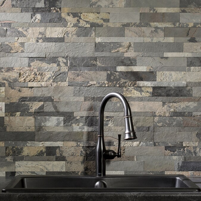 aspect stone 6-in x 24-in medley slate backsplash panels in the backsplash panels department at