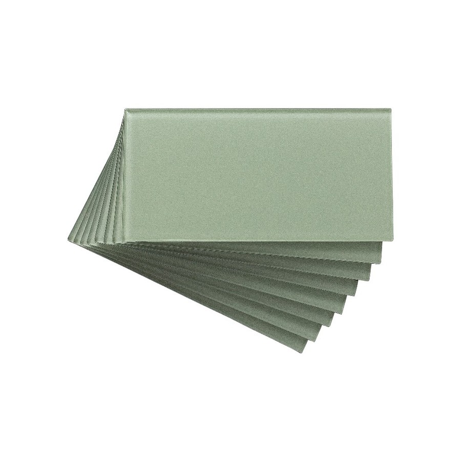Aspect Glass 3-in x 6-in Fresh Sage Multipurpose Backsplash