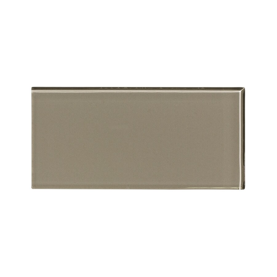 Aspect Glass 3-in x 6-in Putty Backsplash