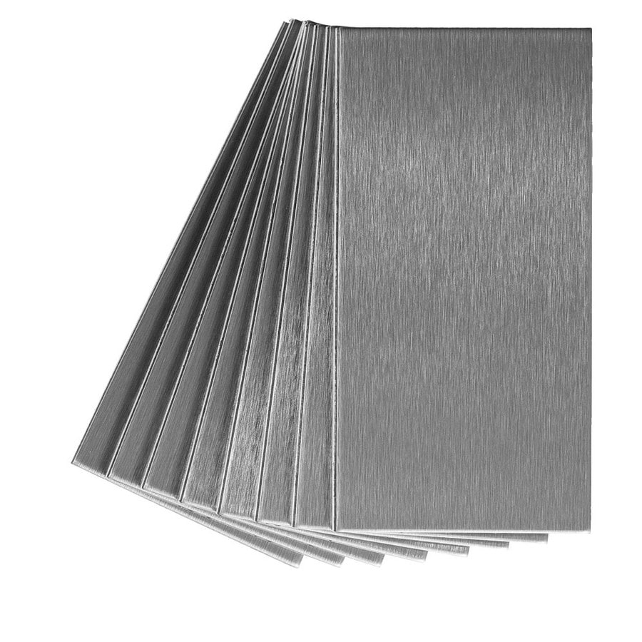 shop aspect metal 3 in x 6 in stainless metal backsplash at