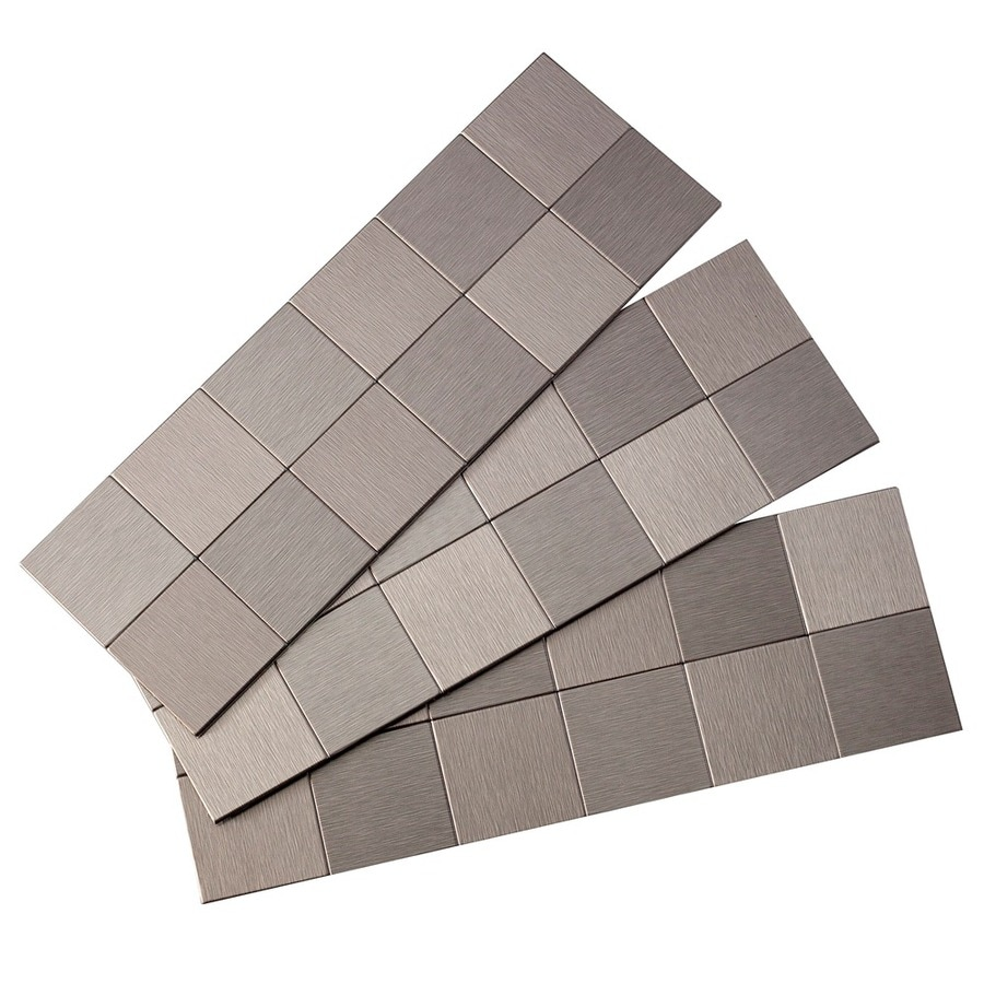 Shop aspect metal 4 in x 12 in stainless metal backsplash for Plaque decorative adhesive alu inox metal
