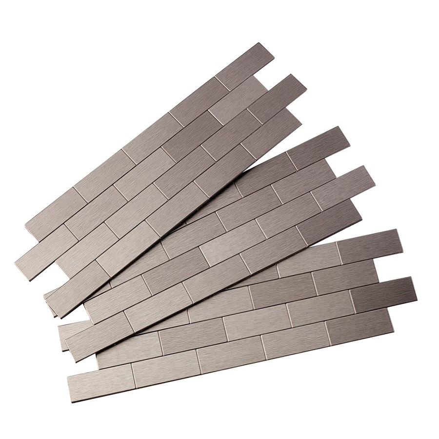 shop aspect metal 4 in x 12 in stainless metal backsplash at
