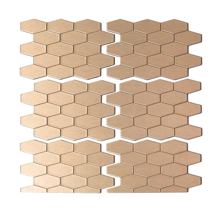 Kitchen Backsplash Tile At Lowes: Shop Aspect Metal 4-in X 6-in Champagne Metal Multipurpose