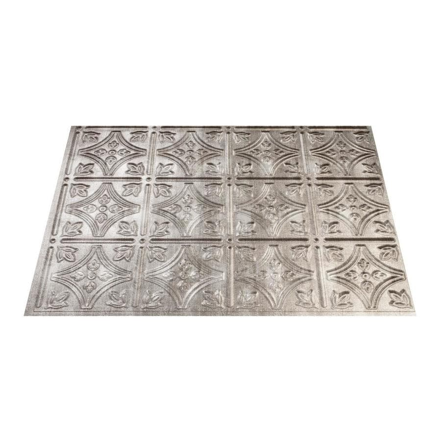 Fasade Traditional 1 18 5 In X 24 Cross Hatch Silver Backsplash Panels