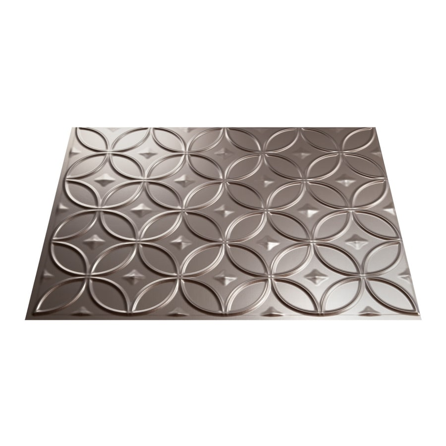 - Fasade Rings 18.5-in X 24.5-in Brushed Nickel Backsplash Panels In