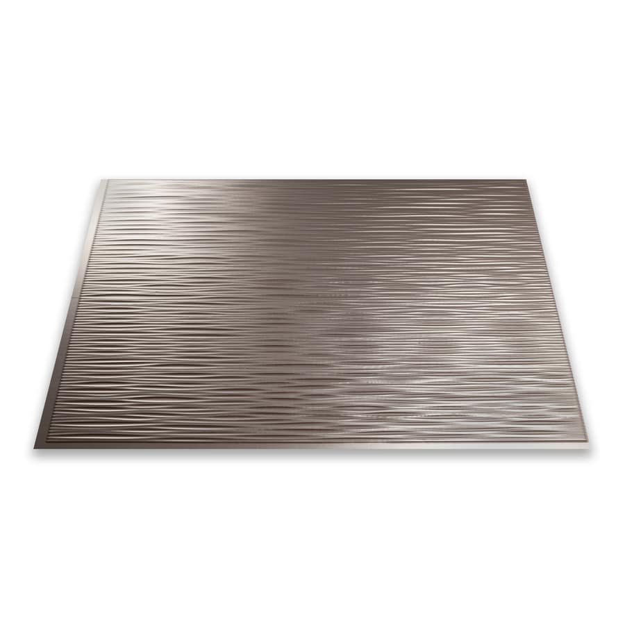Fasade 18.5-in x 24.5-in Brushed Nickel Thermoplastic Multipurpose Backsplash