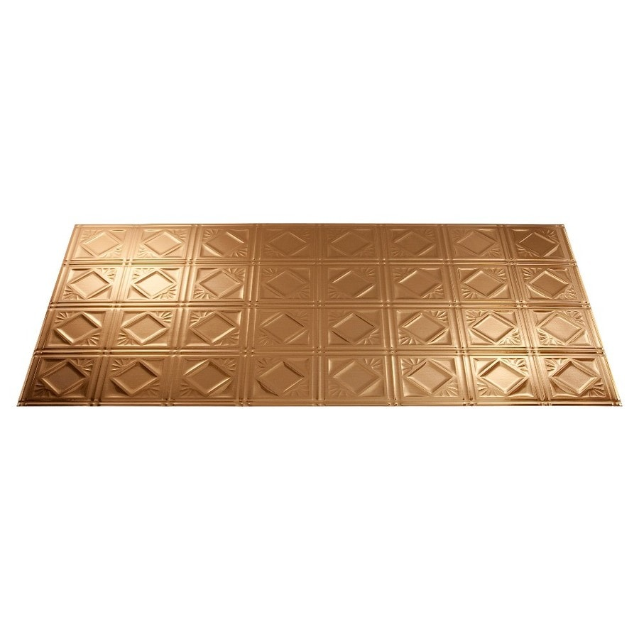 Shop Fasade Polished Copper Faux Tin Surface-Mount Ceiling Tiles (Common: 48-in x 24-in; Actual ...