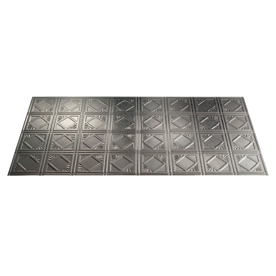 Fasade (Common: 48-in X 24-in; Actual: 48.375-in x 24.375-in) Traditional #4 Galvanized Steel Faux Tin Surface-mount Tile Ceiling Tiles