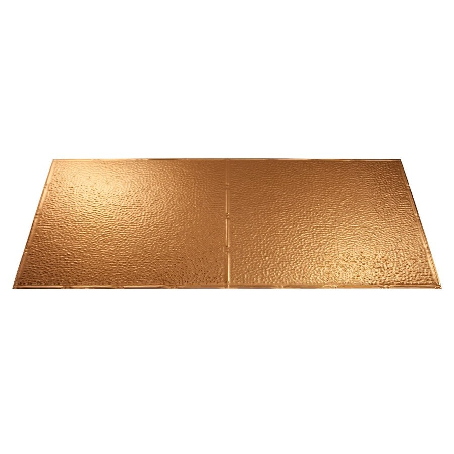Fasade Polished Copper Faux Tin Surface-Mount Ceiling Tiles (Common: 48-in x 24-in; Actual: 48.375-in x 24.375-in)