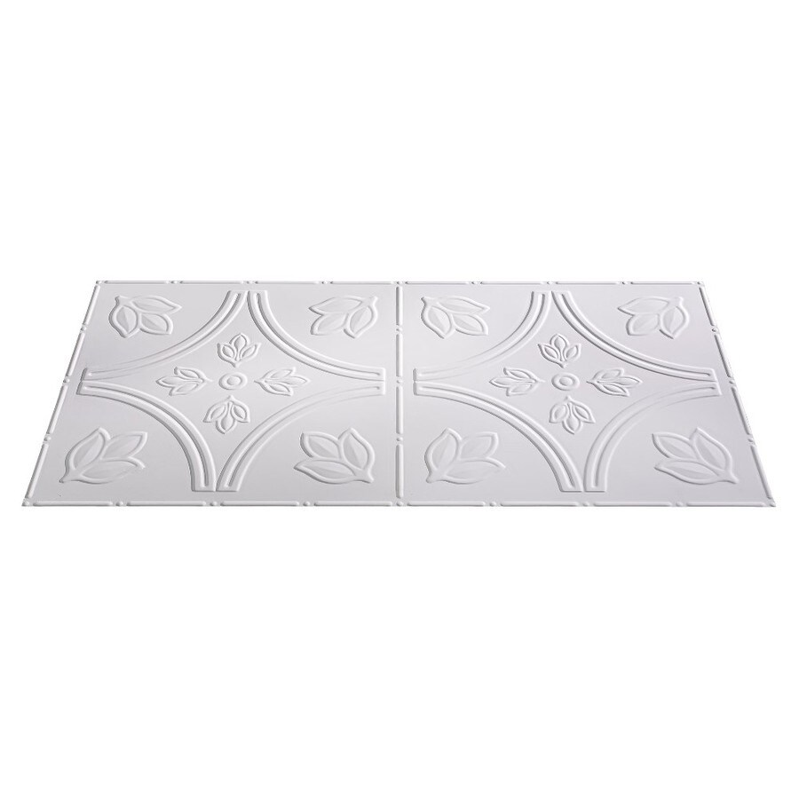 Fasade Matte White Faux Tin Surface-Mount Ceiling Tiles (Common: 48-in x 24-in; Actual: 48.375-in x 24.375-in)