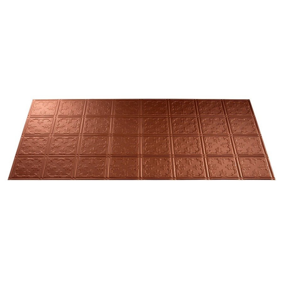 Fasade Argent Copper Faux Tin Surface-Mount Ceiling Tiles (Common: 48-in x 24-in; Actual: 48.375-in x 24.375-in)