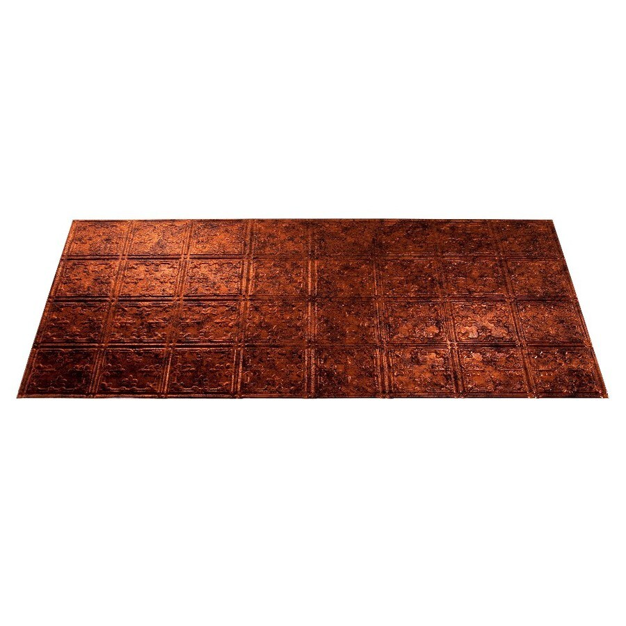 Fasade Moonstone Copper Faux Tin Surface-Mount Ceiling Tiles (Common: 48-in x 24-in; Actual: 48.375-in x 24.375-in)