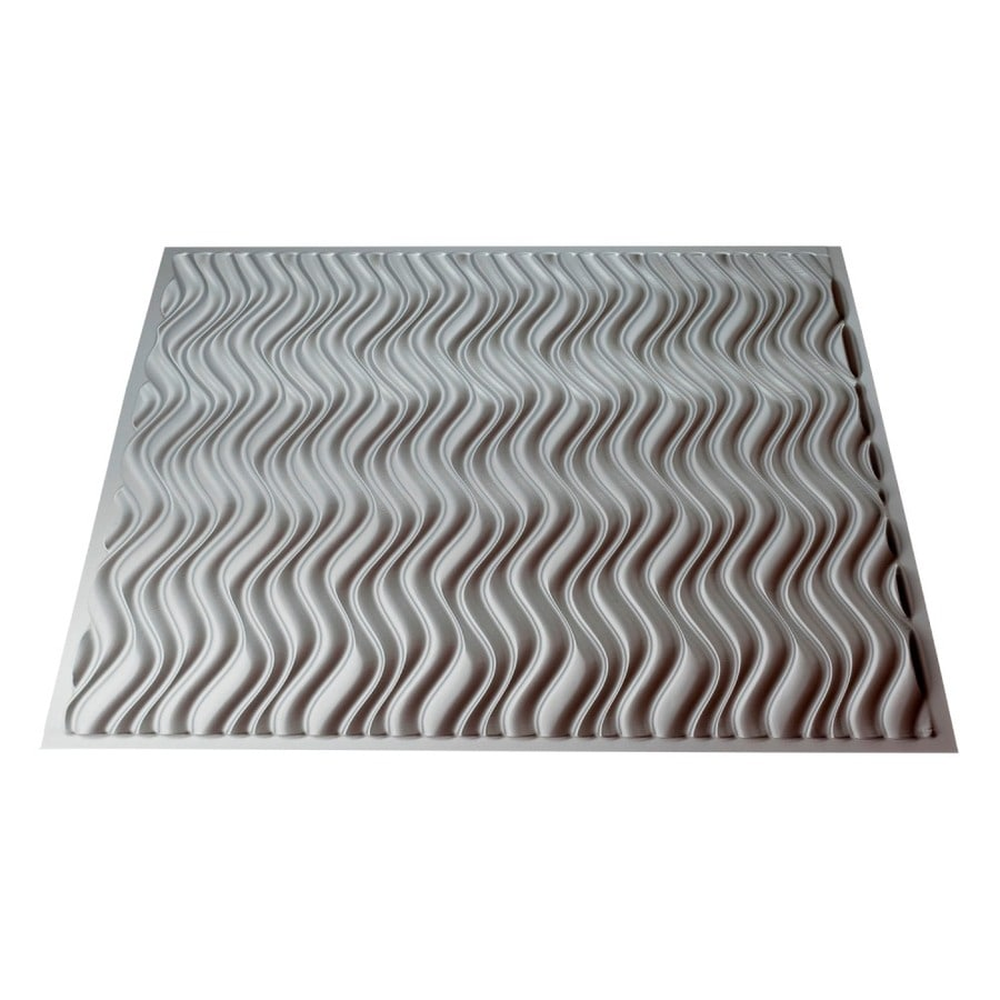 Fasade Argent Silver Faux Tin Surface-Mount Ceiling Tiles (Common: 24-in x 24-in; Actual: 23.25-in x 23.25-in)