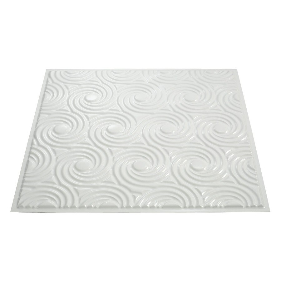 Fasade Gloss White Faux Tin Surface-Mount Ceiling Tiles (Common: 24-in x 24-in; Actual: 23-in x 23-in)