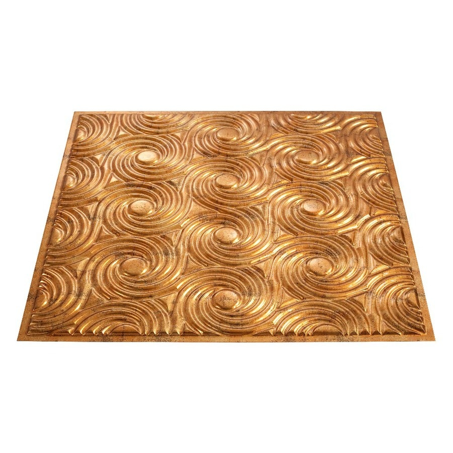 Fasade Muted Gold Faux Tin Surface-Mount Ceiling Tiles (Common: 24-in x 24-in; Actual: 23-in x 23-in)