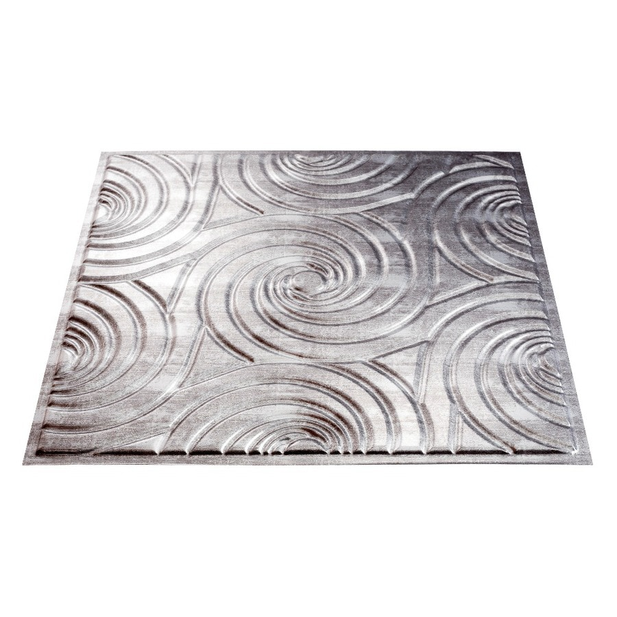 Fasade Crosshatch Silver Faux Tin Surface-Mount Ceiling Tiles (Common: 24-in x 24-in; Actual: 23-in x 23-in)