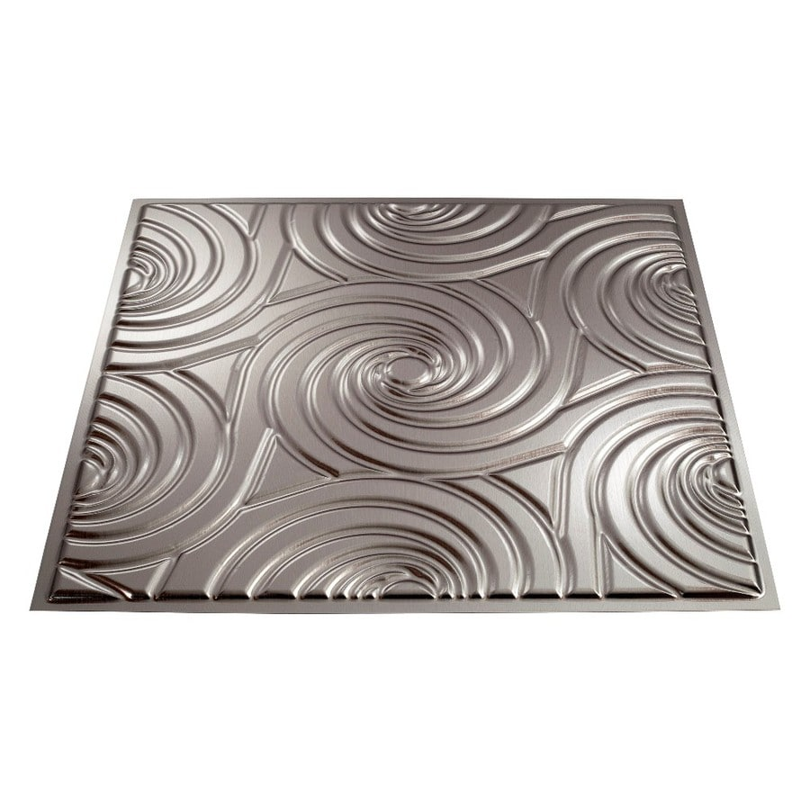 Fasade Brushed Nickel Faux Tin Surface-Mount Ceiling Tiles (Common: 24-in x 24-in; Actual: 23-in x 23-in)