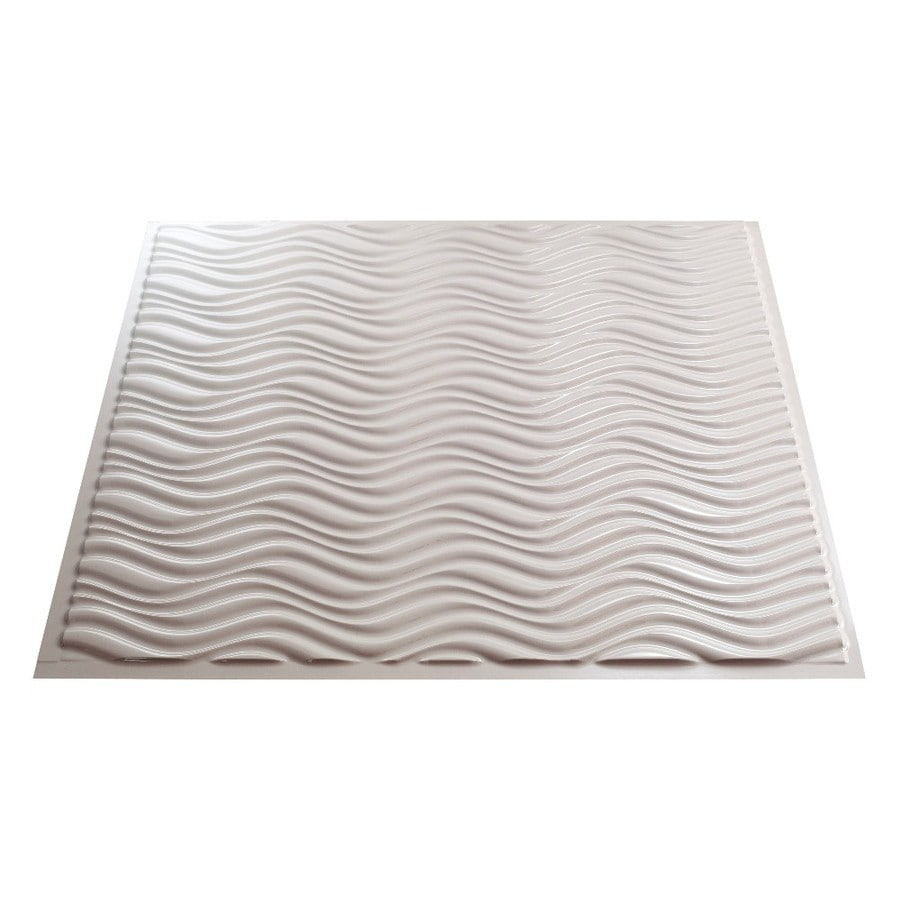 Fasade Gloss White Faux Tin Surface-Mount Ceiling Tiles (Common: 24-in x 24-in; Actual: 23.25-in x 23.25-in)