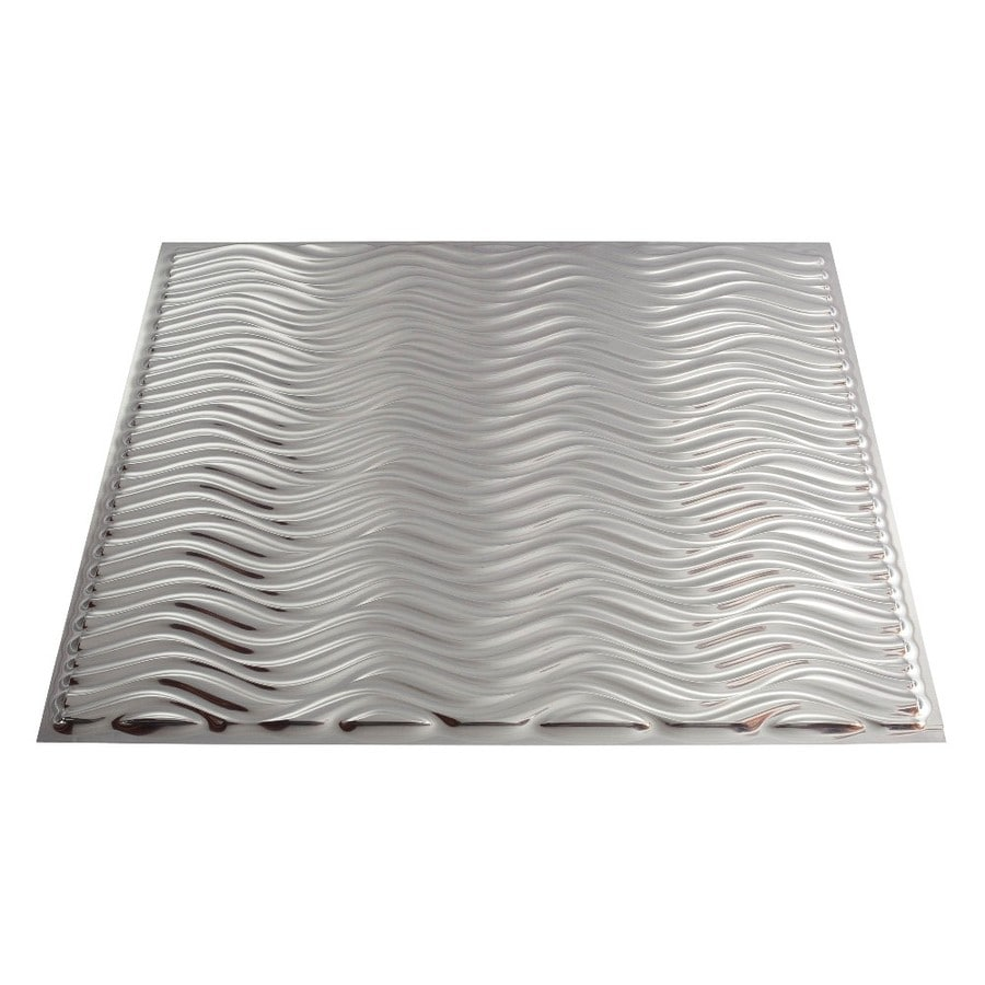 Fasade Brushed Aluminum Faux Tin Surface-Mount Ceiling Tiles (Common: 24-in x 24-in; Actual: 23.25-in x 23.25-in)
