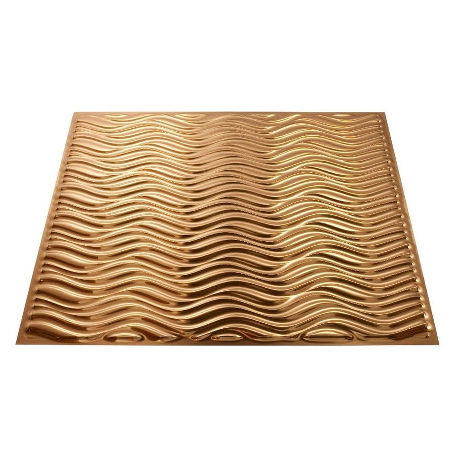 Fasade Polished Copper Faux Tin Surface-Mount Ceiling Tiles (Common: 24-in x 24-in; Actual: 23.25-in x 23.25-in)