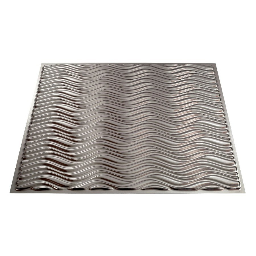 Fasade Brushed Nickel Faux Tin Surface-Mount Ceiling Tiles (Common: 24-in x 24-in; Actual: 23.25-in x 23.25-in)