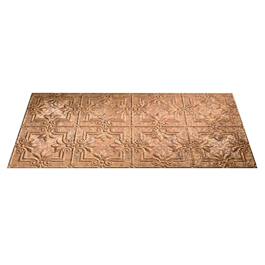 Fasade Cracked Copper Faux Tin Surface-Mount Ceiling Tiles (Common: 48-in x 24-in; Actual: 48.375-in x 24.375-in)