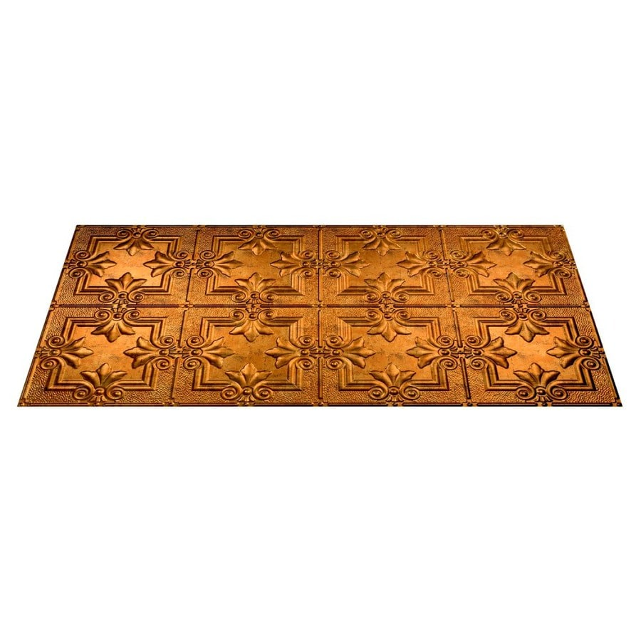 Fasade Muted Gold Faux Tin Surface-Mount Ceiling Tiles (Common: 48-in x 24-in; Actual: 48.375-in x 24.375-in)