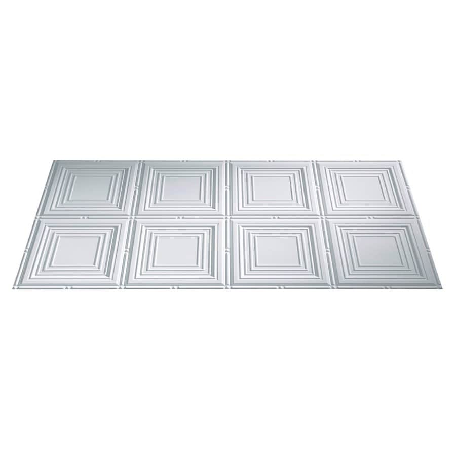 Fasade Gloss White Faux Tin Surface-Mount Ceiling Tiles (Common: 48-in x 24-in; Actual: 48.375-in x 24.375-in)