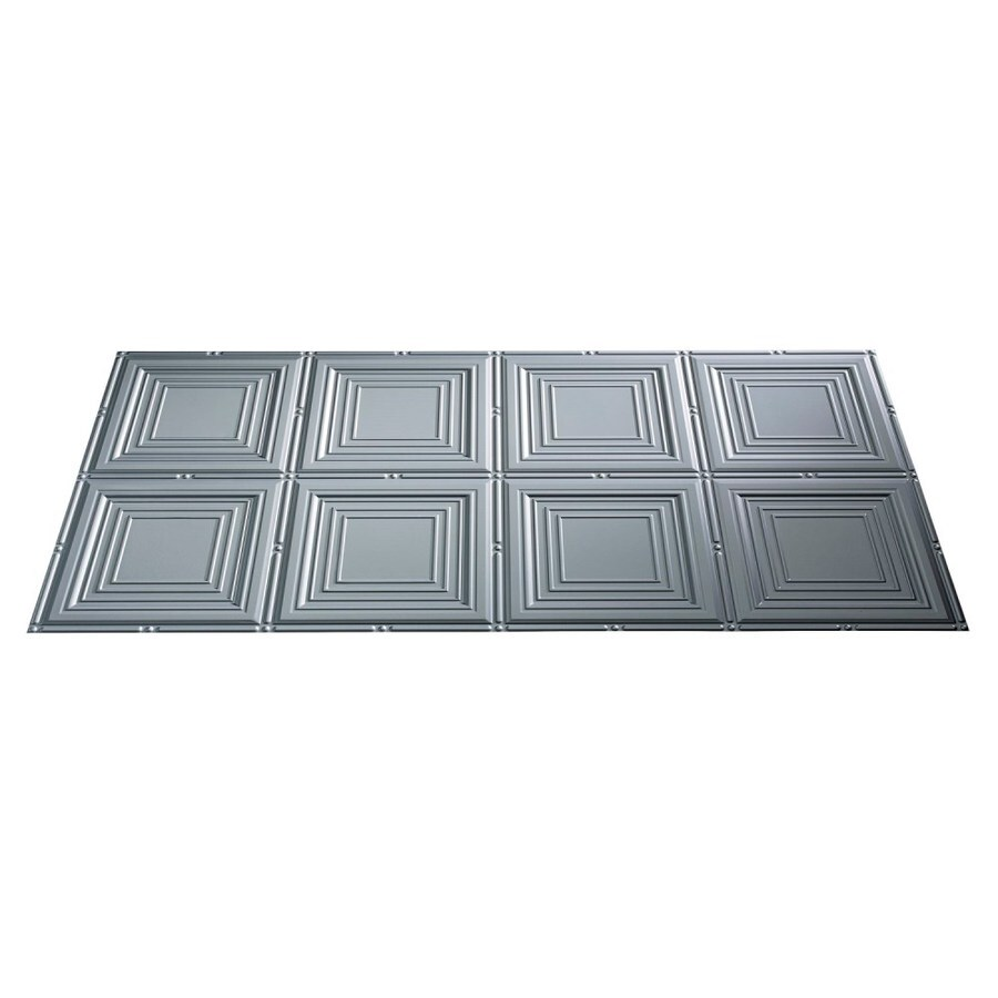 Fasade Argent Silver Faux Tin Surface-Mount Ceiling Tiles (Common: 48-in x 24-in; Actual: 48.375-in x 24.375-in)