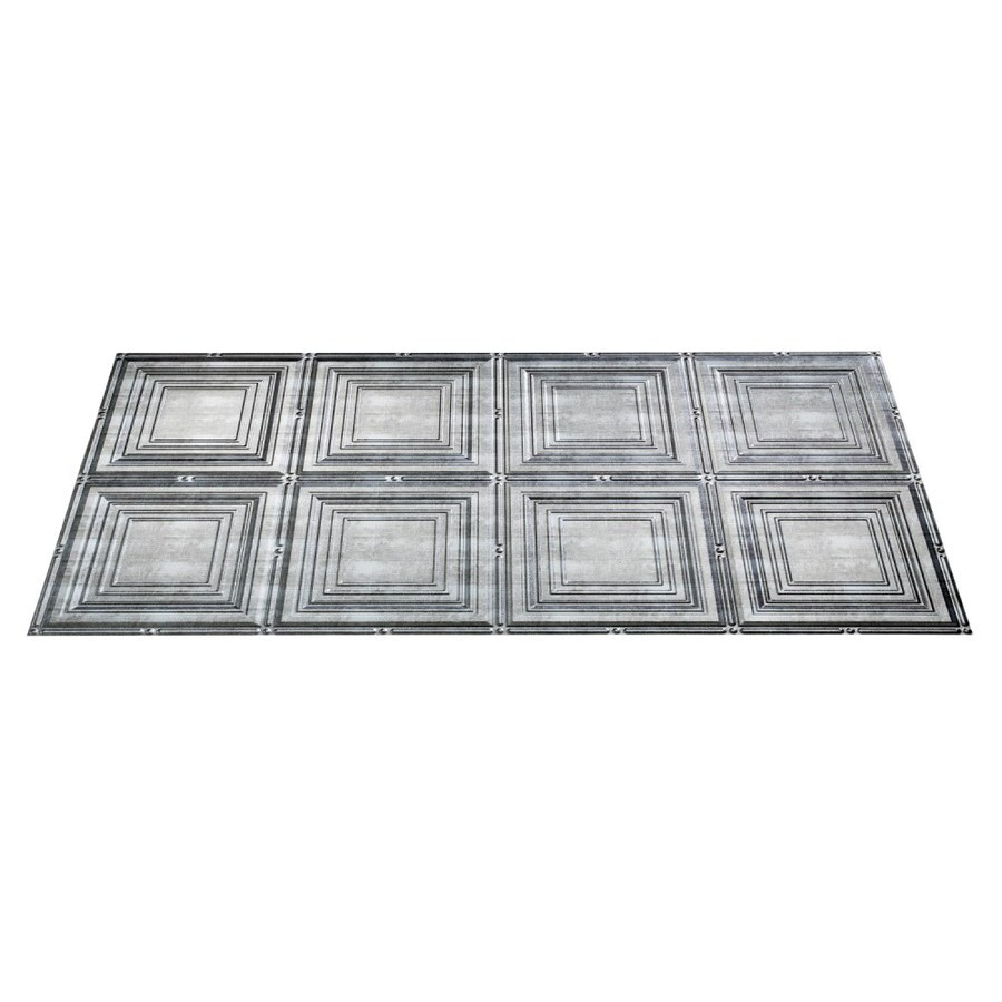 Fasade Crosshatch Silver Faux Tin Surface-Mount Ceiling Tiles (Common: 48-in x 24-in; Actual: 48.375-in x 24.375-in)
