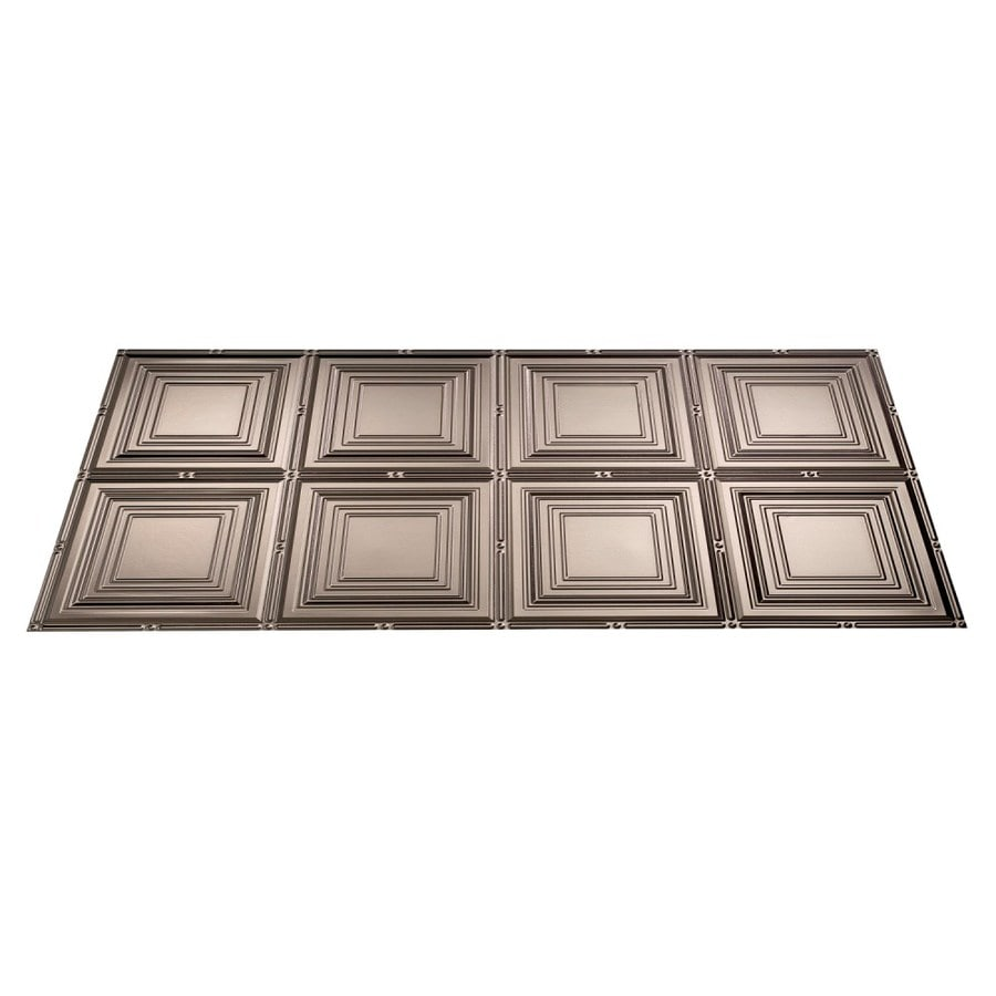 Fasade Brushed Nickel Faux Tin Surface-Mount Ceiling Tiles (Common: 48-in x 24-in; Actual: 48.375-in x 24.375-in)